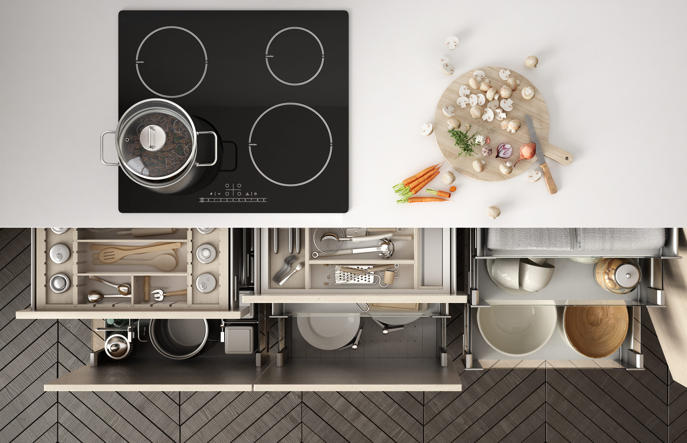 Organized Kitchen From Above